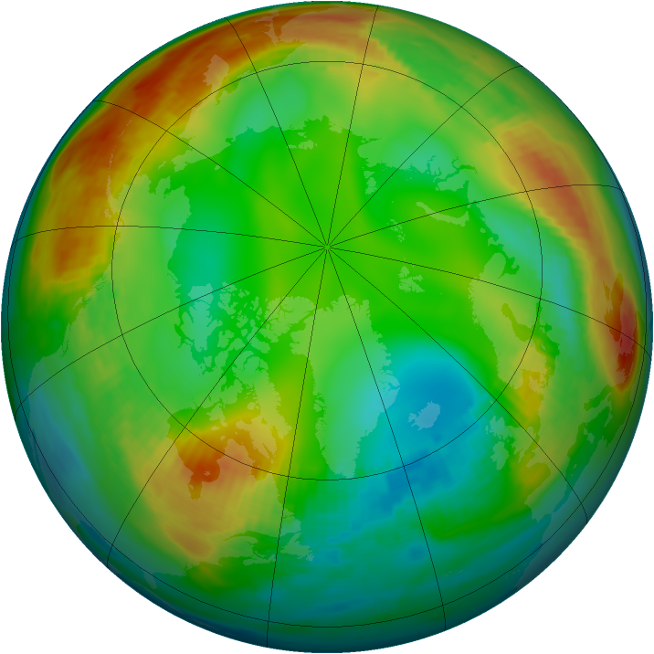 Arctic ozone map for 10 January 1981