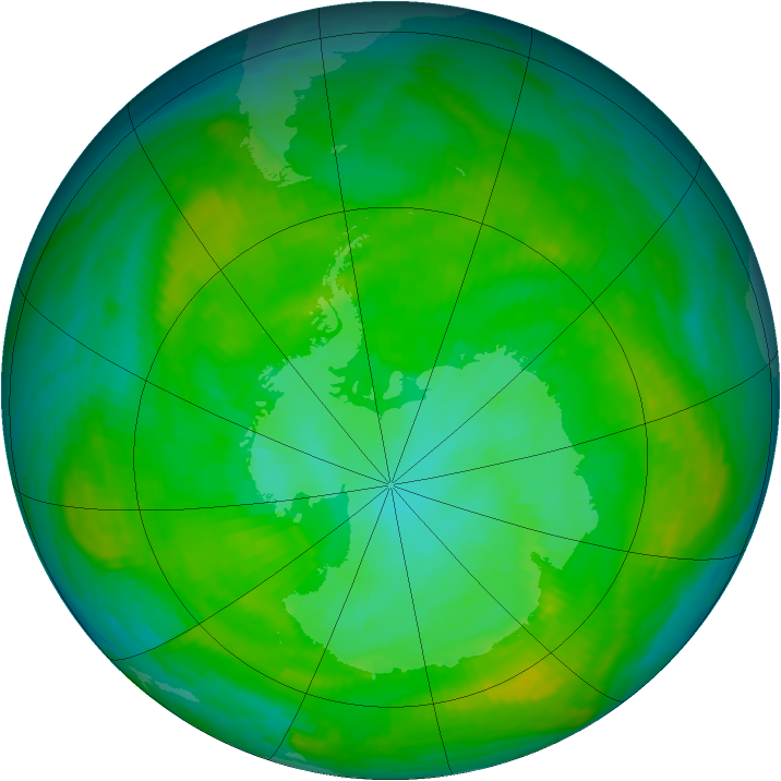 Antarctic ozone map for 10 January 1981