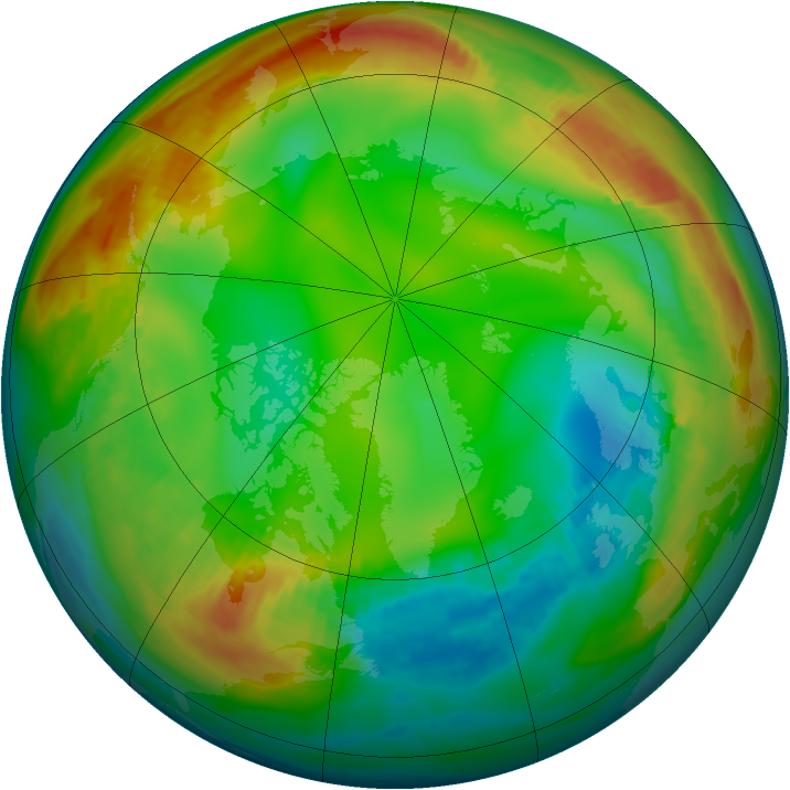 Arctic ozone map for 11 January 1981