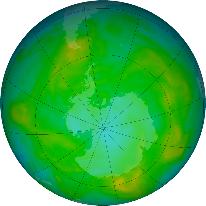 Antarctic ozone map for 11 January 1981