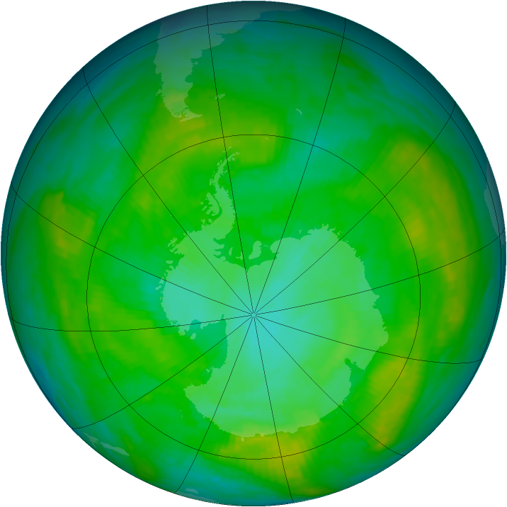 Antarctic ozone map for 12 January 1981