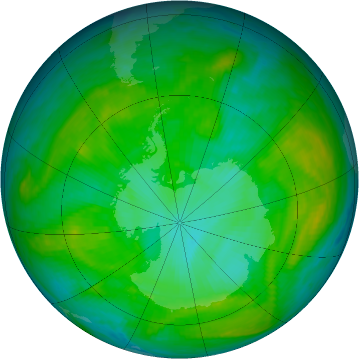 Antarctic ozone map for 15 January 1981