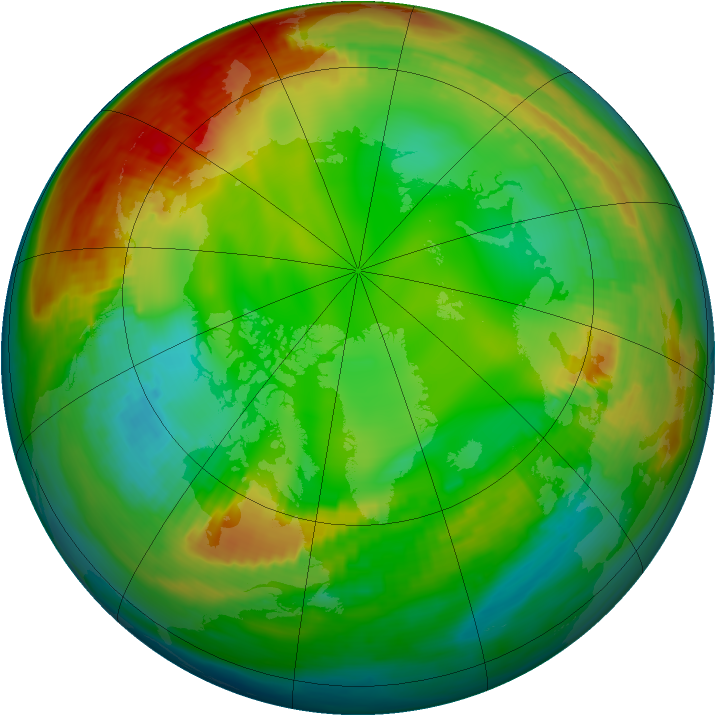 Arctic ozone map for 16 January 1981