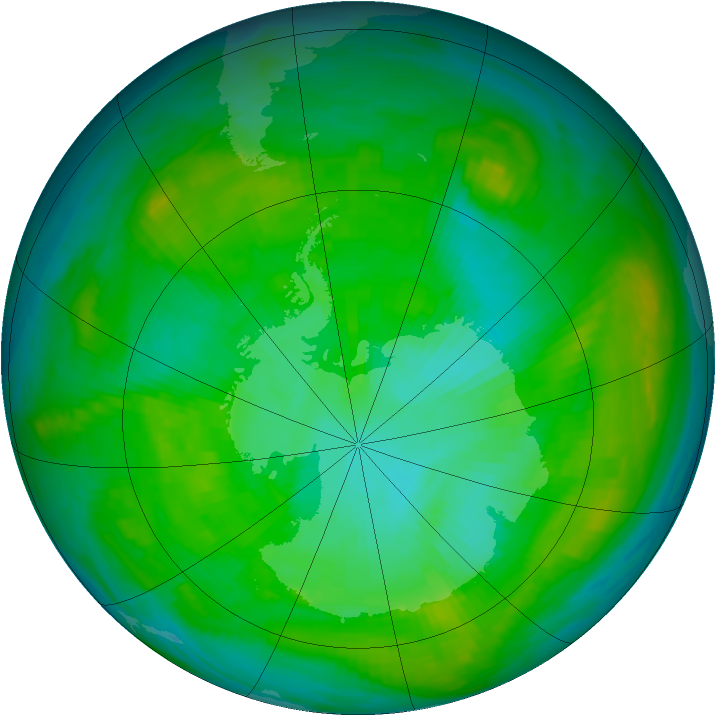 Antarctic ozone map for 16 January 1981