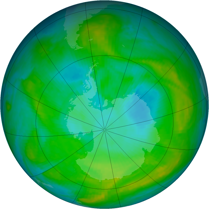 Antarctic ozone map for 21 January 1981