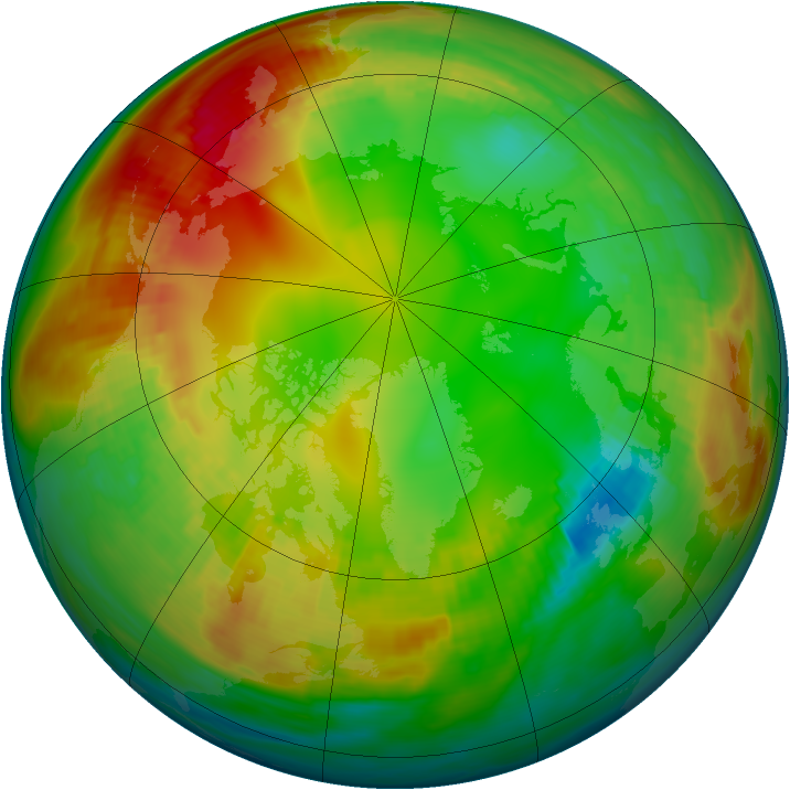 Arctic ozone map for 22 January 1981