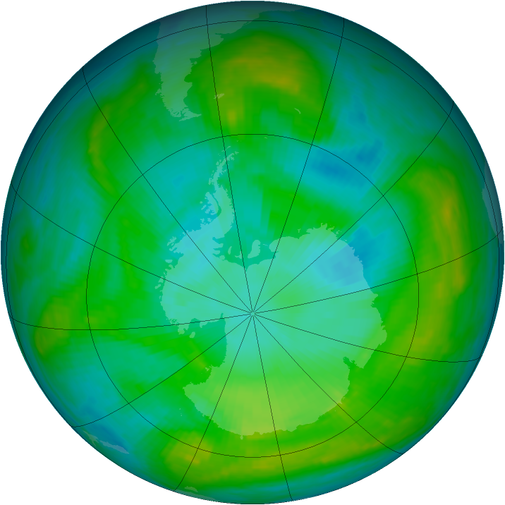 Antarctic ozone map for 22 January 1981