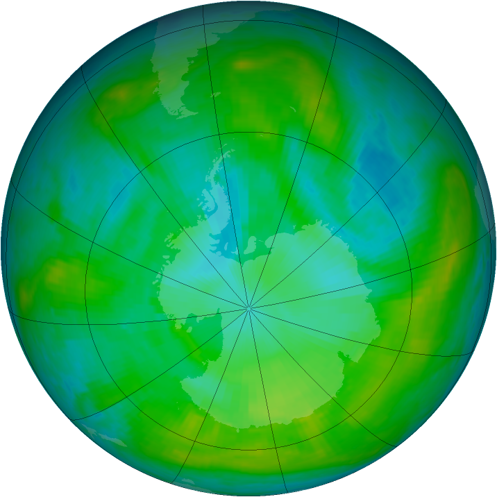 Antarctic ozone map for 23 January 1981