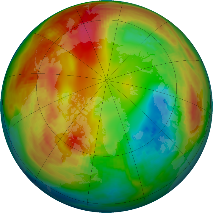 Arctic ozone map for 27 January 1981