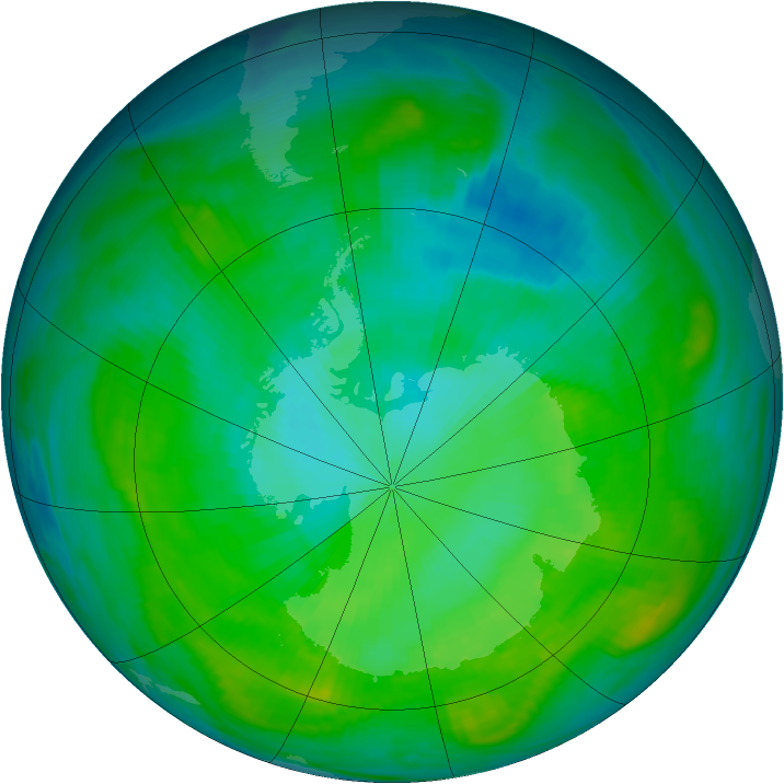 Antarctic ozone map for 29 January 1981