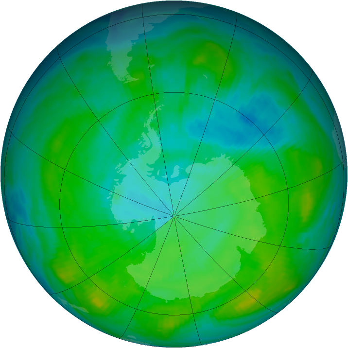 Antarctic ozone map for 30 January 1981