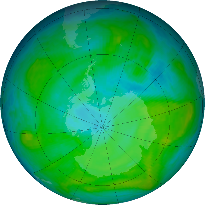 Antarctic ozone map for 31 January 1981