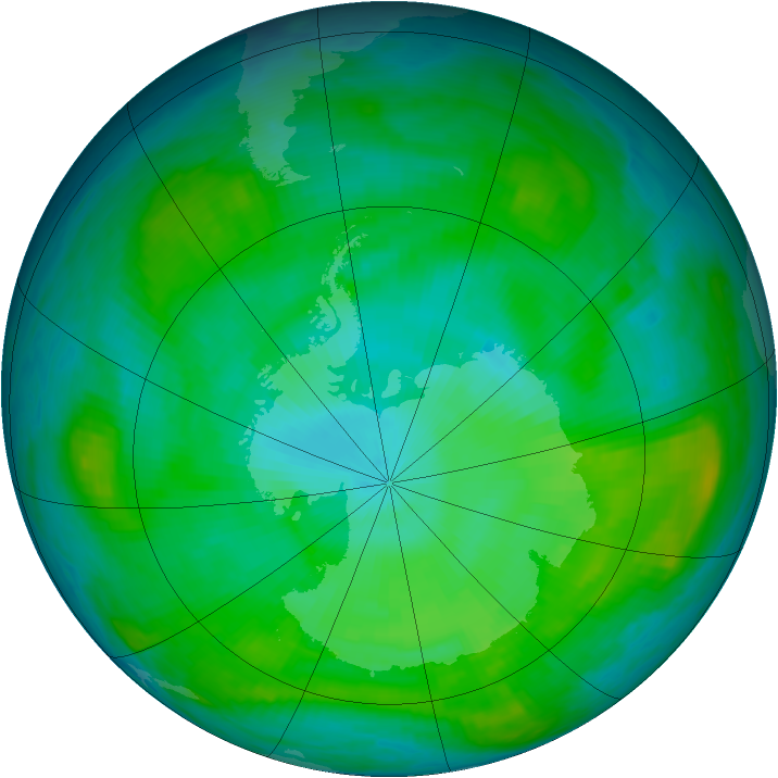 Antarctic ozone map for 01 February 1981
