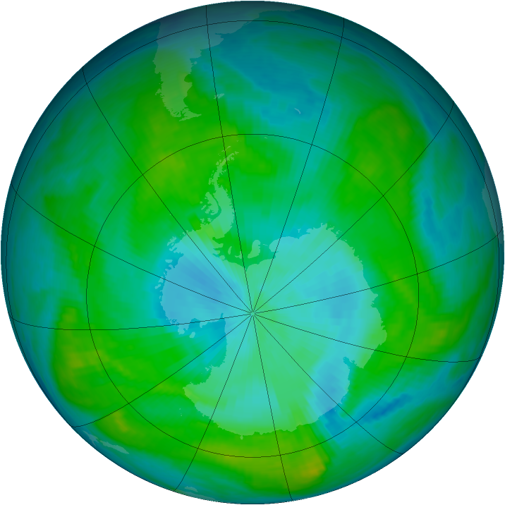 Antarctic ozone map for 07 February 1981