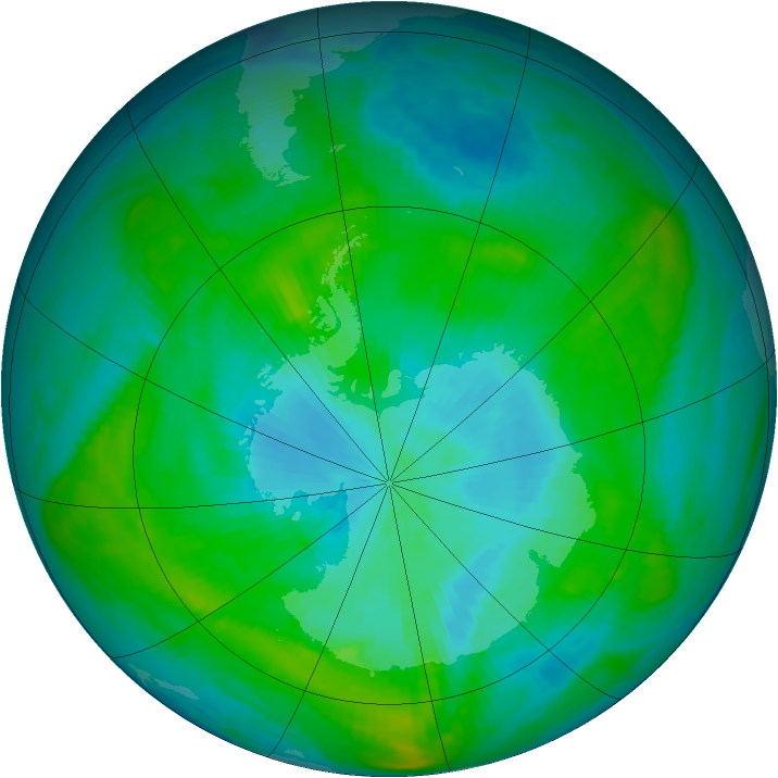 Antarctic ozone map for 08 February 1981