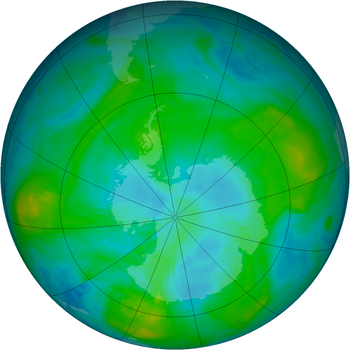 Antarctic ozone map for 10 February 1981