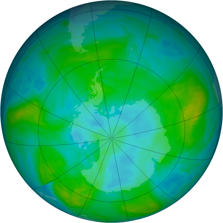 Antarctic ozone map for 11 February 1981