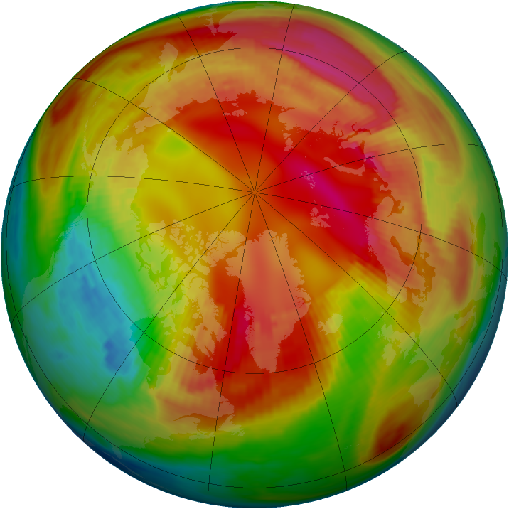 Arctic ozone map for 14 February 1981