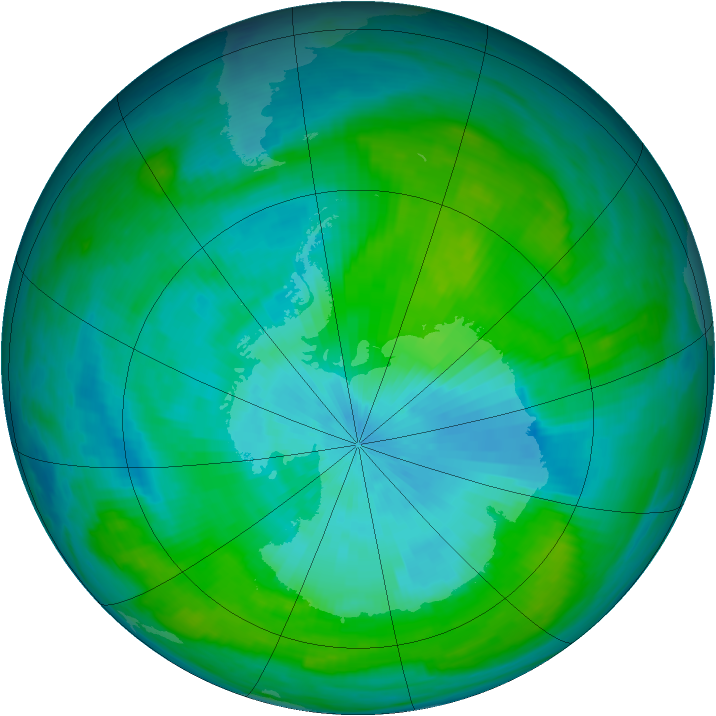 Antarctic ozone map for 20 February 1981