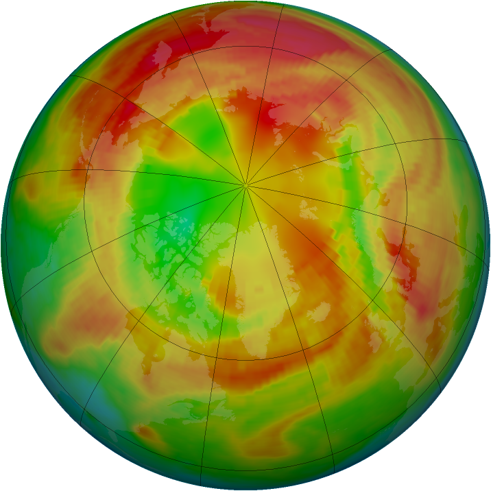 Arctic ozone map for 21 February 1981