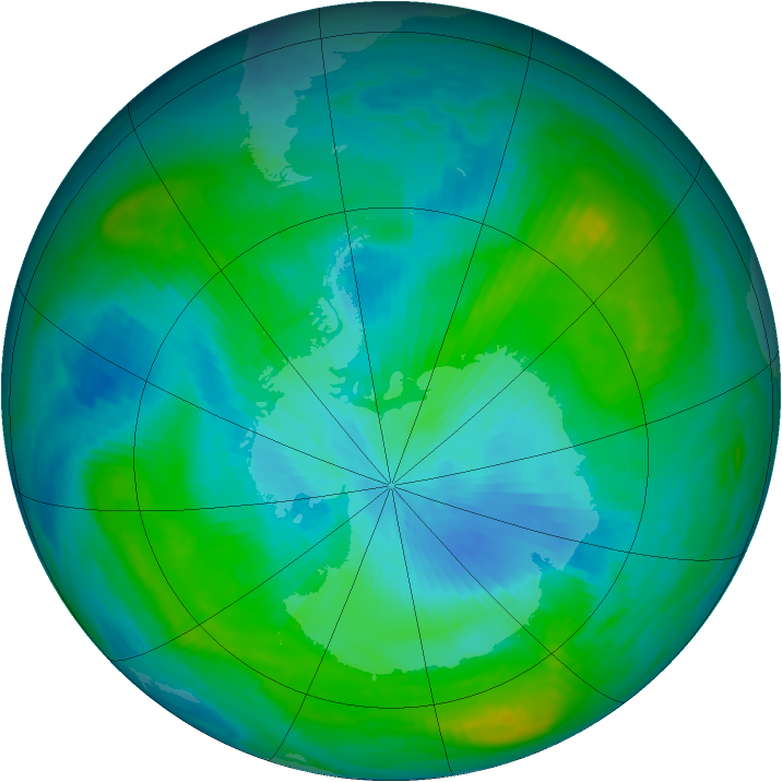 Antarctic ozone map for 22 February 1981