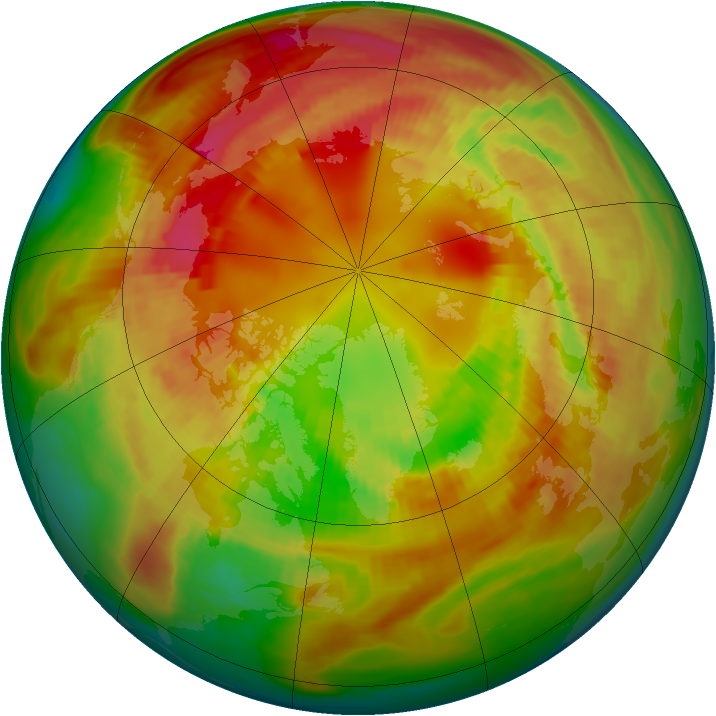Arctic ozone map for 23 February 1981