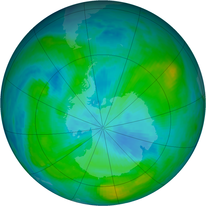 Antarctic ozone map for 23 February 1981