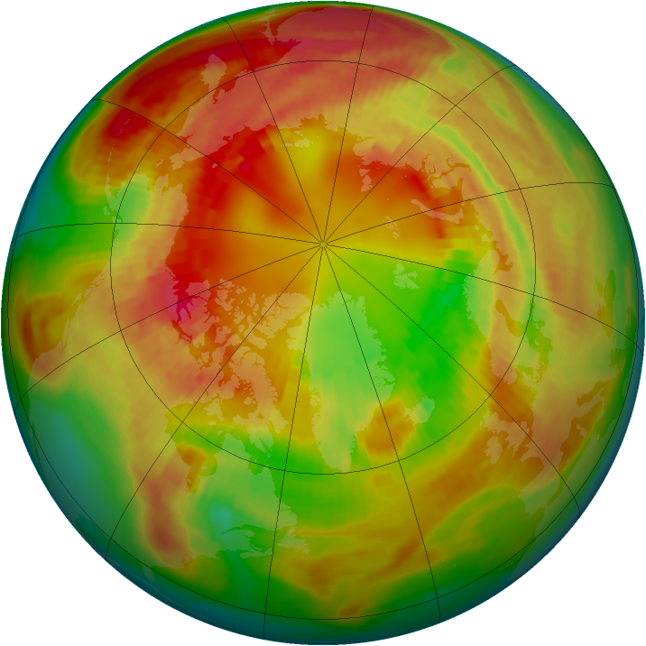 Arctic ozone map for 24 February 1981