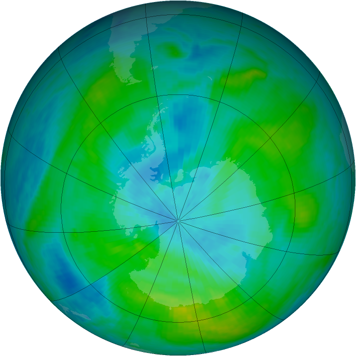 Antarctic ozone map for 25 February 1981