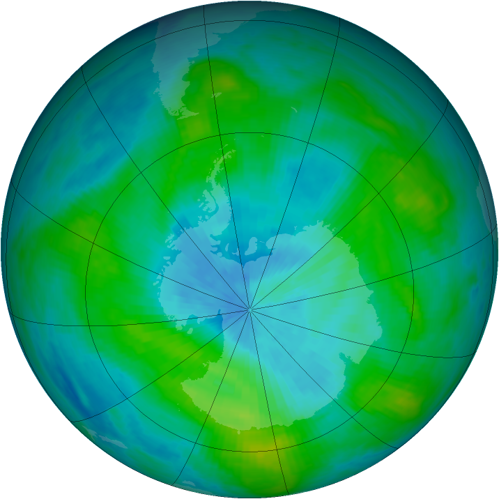 Antarctic ozone map for 27 February 1981