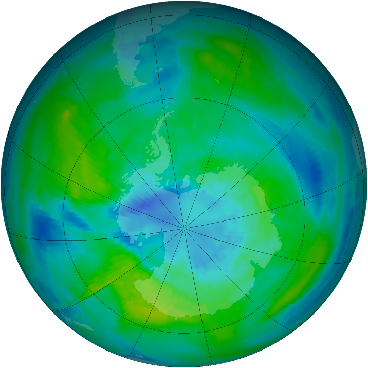 Antarctic ozone map for 27 March 1981