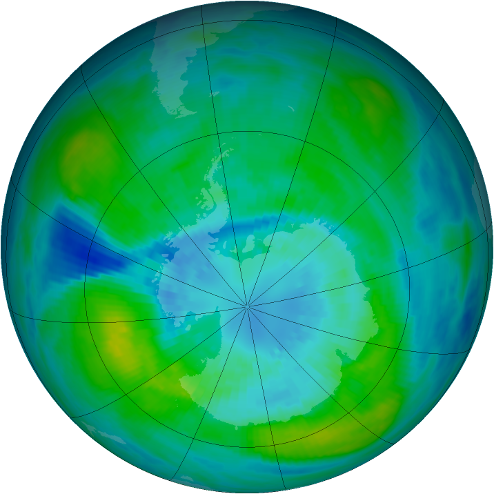 Antarctic ozone map for 29 March 1981