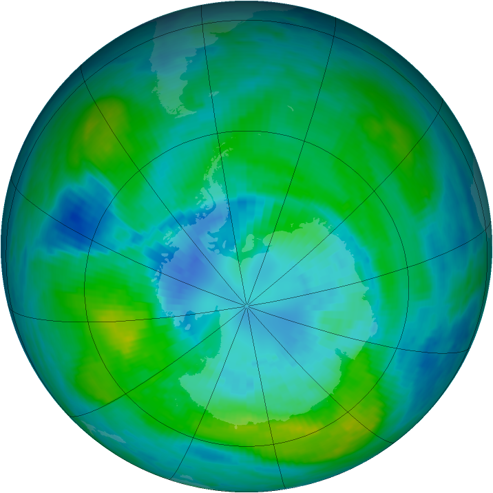 Antarctic ozone map for 30 March 1981