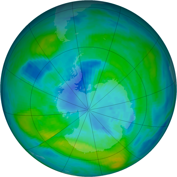 Antarctic ozone map for 31 March 1981