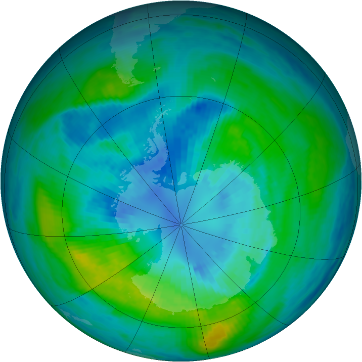 Antarctic ozone map for 01 April 1981