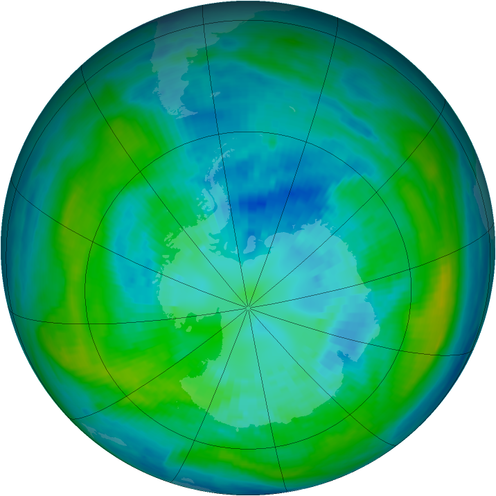 Antarctic ozone map for 06 April 1981
