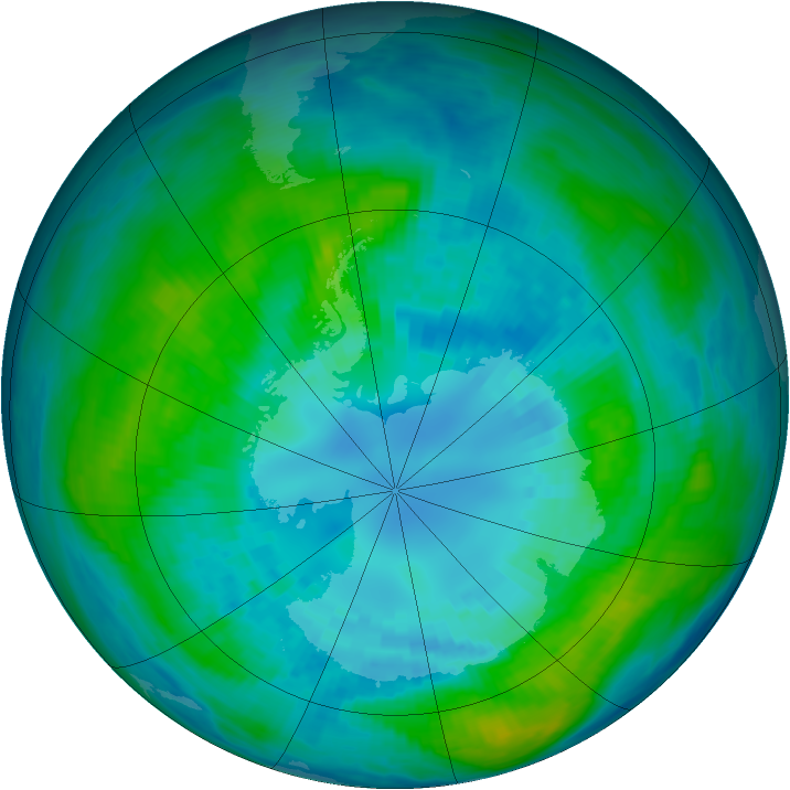Antarctic ozone map for 10 April 1981