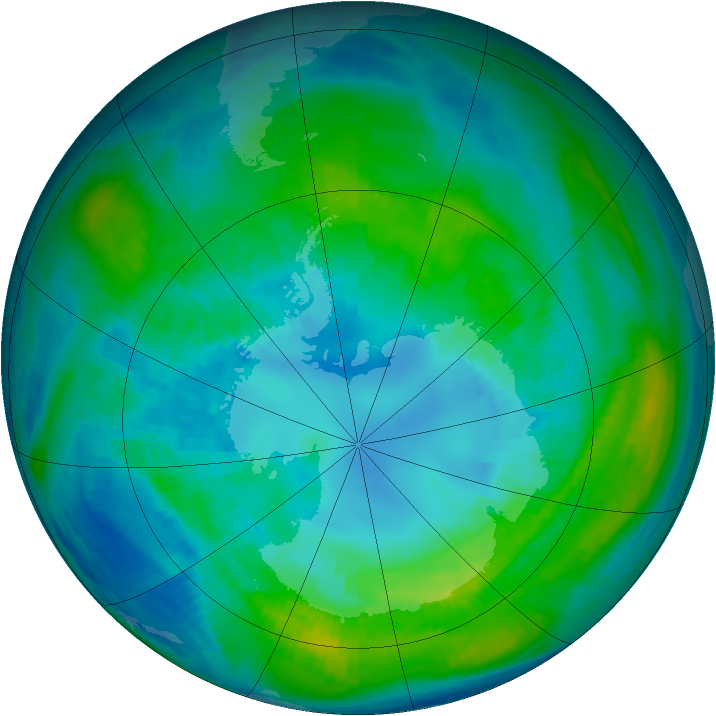 Antarctic ozone map for 13 April 1981