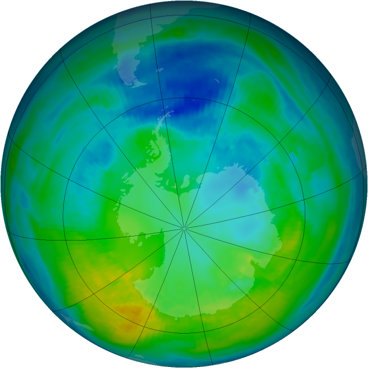 Antarctic ozone map for 20 April 1981