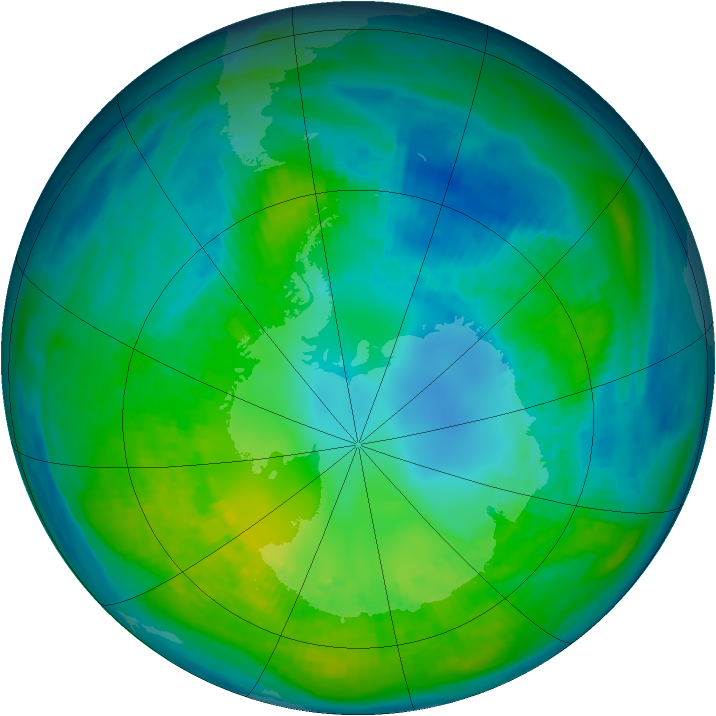 Antarctic ozone map for 22 April 1981