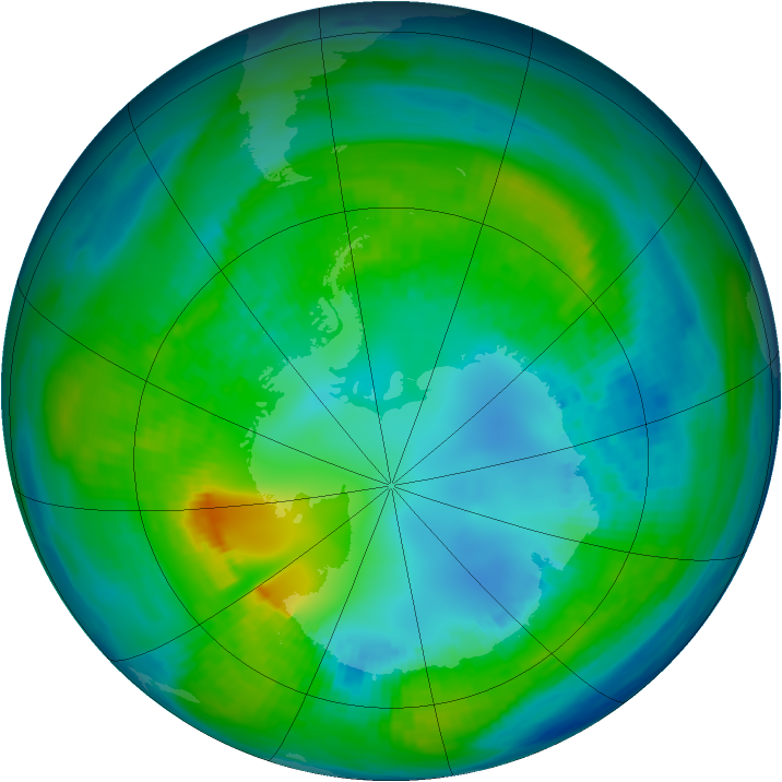 Antarctic ozone map for 26 April 1981