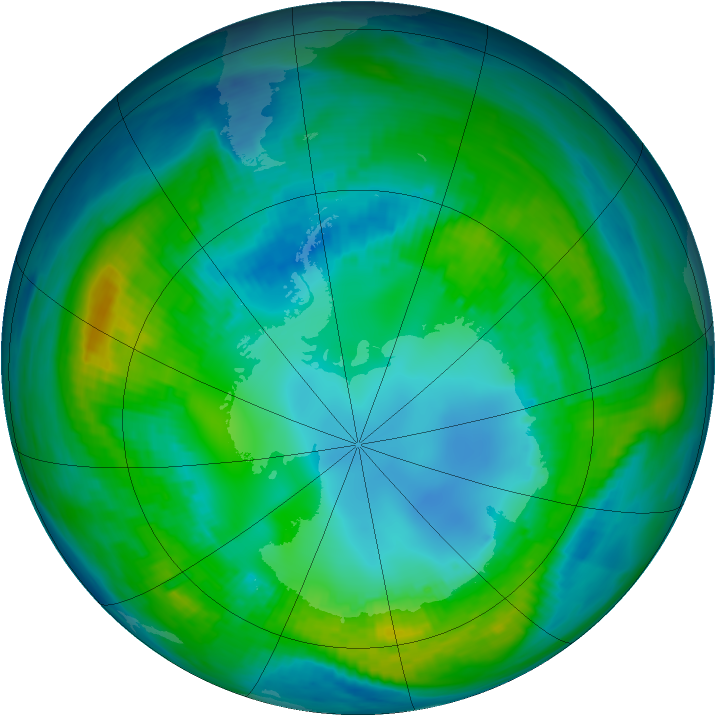 Antarctic ozone map for 29 April 1981