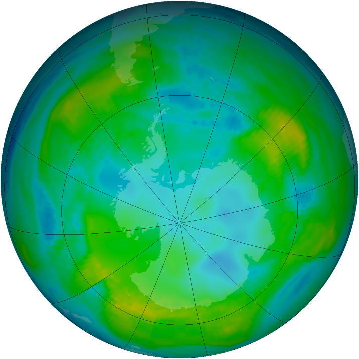 Antarctic ozone map for 03 May 1981