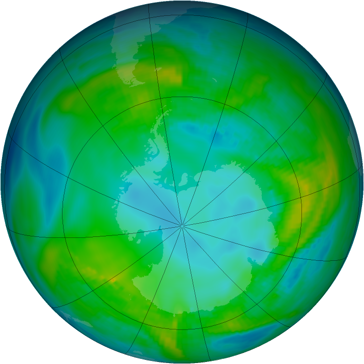 Antarctic ozone map for 05 May 1981