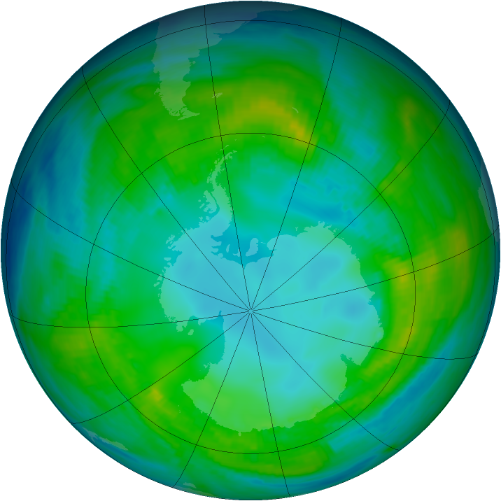 Antarctic ozone map for 06 May 1981