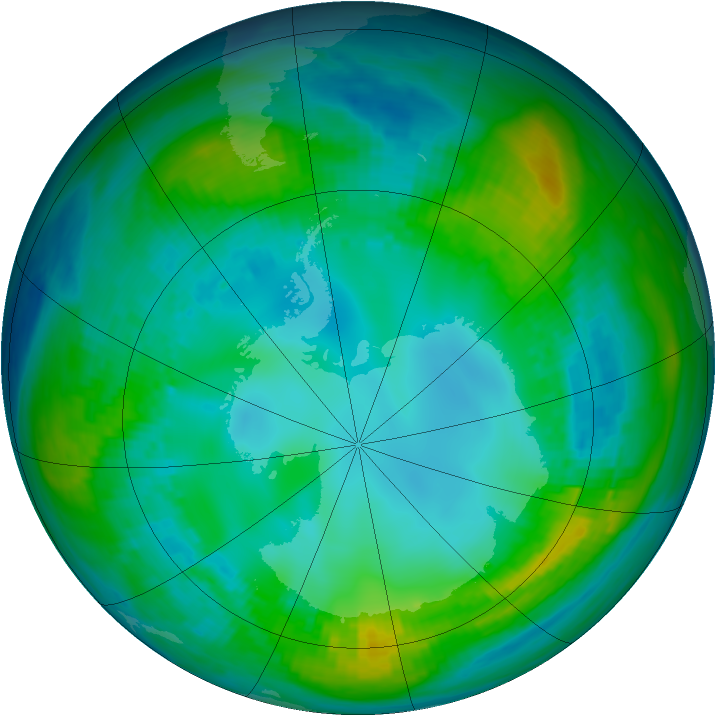 Antarctic ozone map for 08 May 1981