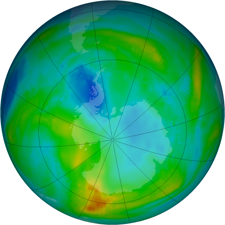 Antarctic ozone map for 10 May 1981