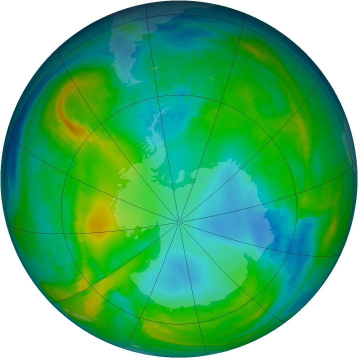 Antarctic ozone map for 13 May 1981
