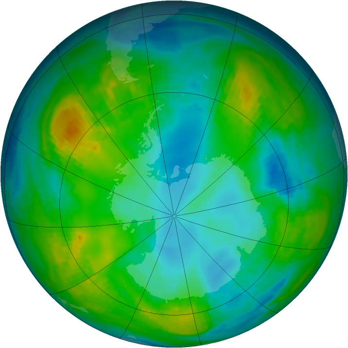 Antarctic ozone map for 15 May 1981