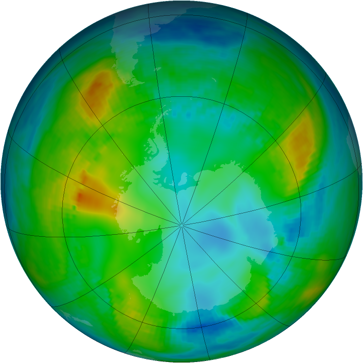 Antarctic ozone map for 17 May 1981